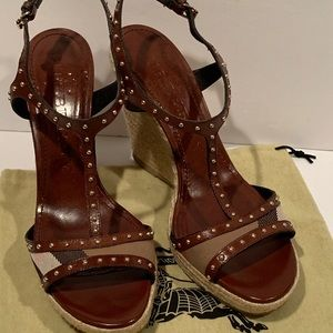 Burberry Studded Check Espadrille Wedges Women 40